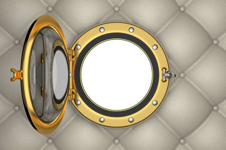 Porthole or window of the luxurious yacht, 3D illustration Stock Photo