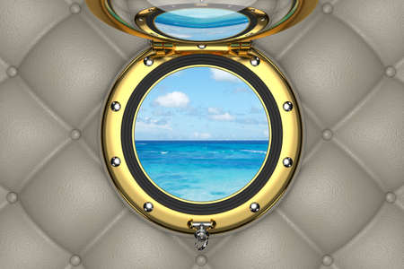 View through the porthole of luxurious yacht, 3D illustration