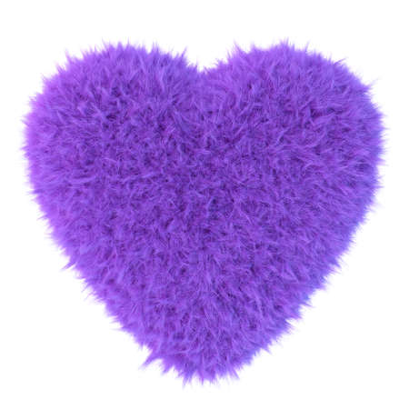 puffy: Purple fur heart, 3D render