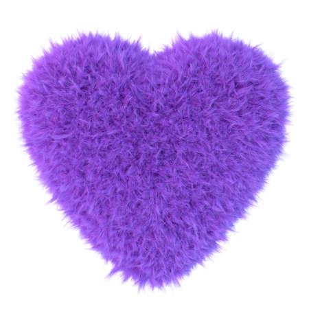 fur: Purple fur heart, 3D render