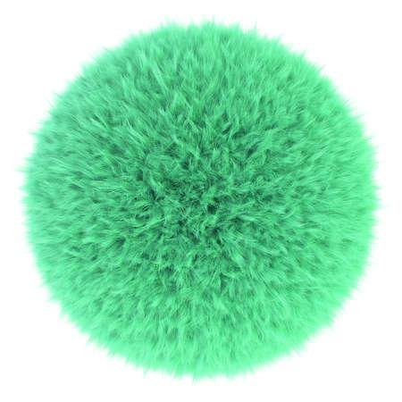 fur: 3D render of light green fur sphere
