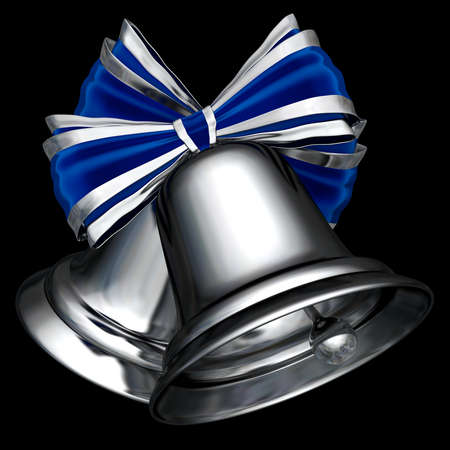 A couple of cute silver Christmas bells 3D illustration