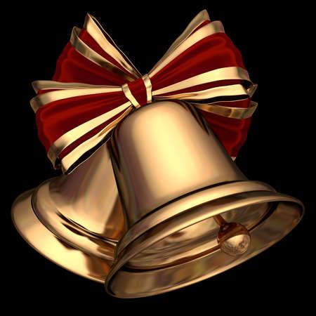 A couple of cute golden Christmas bells 3D illustration