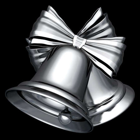 A couple of retro style silver Christmas bells 3D illustration