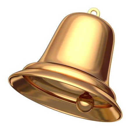Golden Christmas bell isolated on white 3D illustration