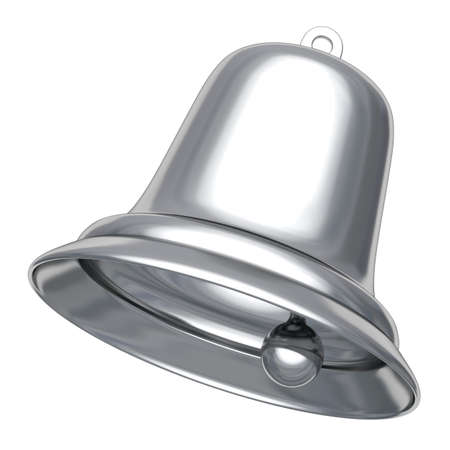 Silver Christmas bell isolated on white 3D illustration