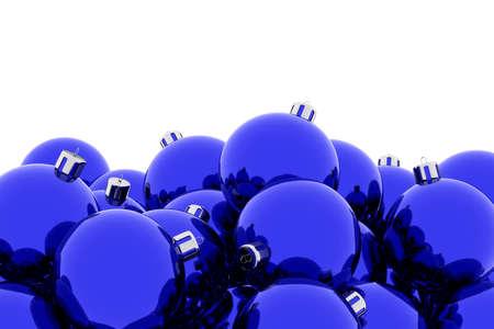 Blue Christmas balls against white 3D illustration