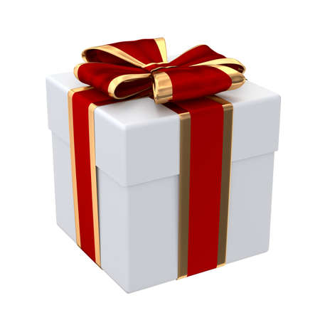 Gift box with red and golden ribbon isolated on white 3D illustration