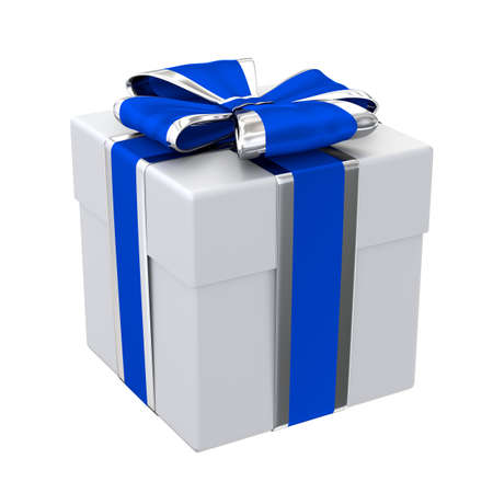 Gift box with blue and silver ribbon isolated on white 3D illustration