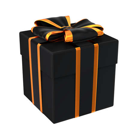 Halloween style gift box isolated on white 3D illustration