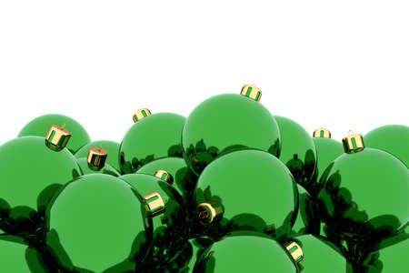 Green Christmas balls against white 3D illustration