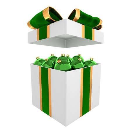 Stylish box full of green Christmas balls 3D illustration Stockfoto