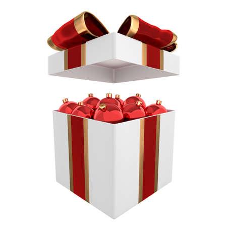 Stylish box full of red Christmas balls 3D illustration