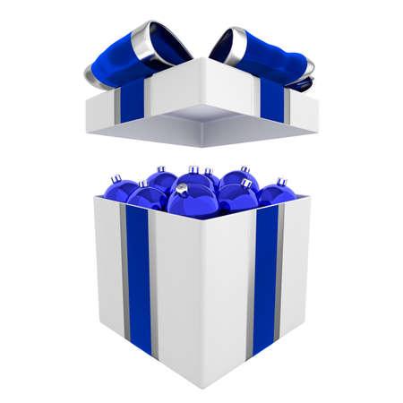 Stylish box full of blue Christmas balls 3D illustration