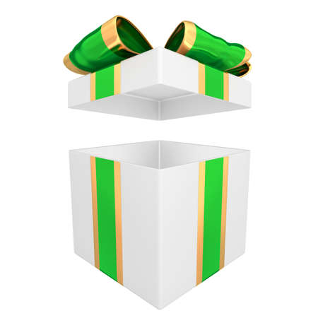 Open gift box with green and gold ribbon 3D illustration