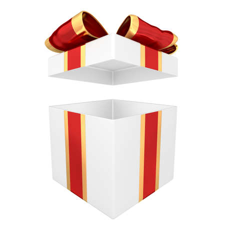 Open gift box with red and gold ribbon 3D illustration