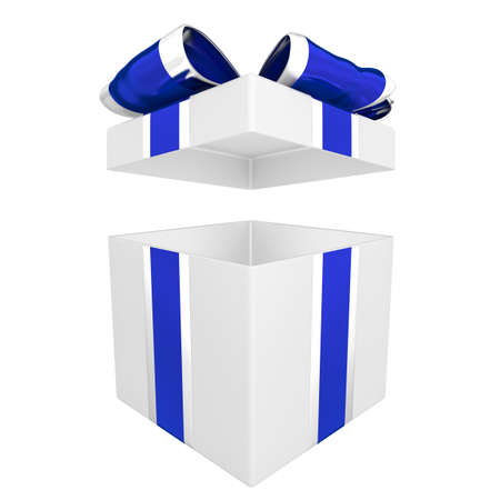 Open gift box with blue and silver ribbon 3D illustration