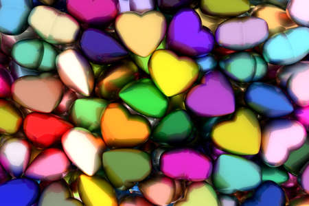 Colorful glossy hearts 3D illustration
