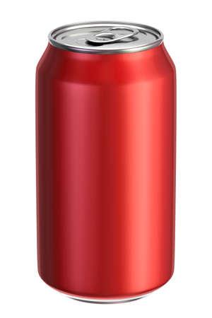 Red aluminium drink can 3D illustration Stockfoto