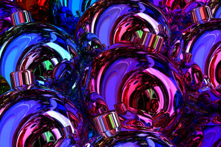 Glossy Christmas balls reflections abstract background 3D illustration