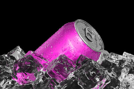 Pink drink can on the ice bed 3D illustration