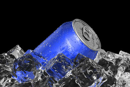 Blue drink can on the ice bed 3D illustration