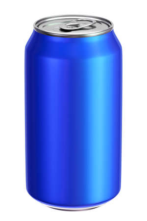 metal industry: Blue aluminium drink can 3D illustration