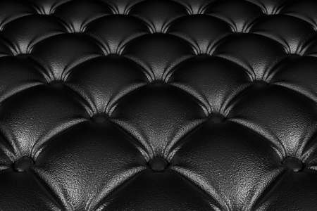 quilted fabric: 3D realistic illustration of the black quilted leather pattern perspective view