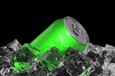 Green drink can on the ice bed 3D illustration Stockfoto