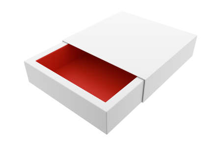 3D illustration of the empty paper box isolated on white Stockfoto