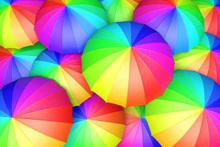 rainbow umbrella: Multicolored umbrellas top view 3D illustration
