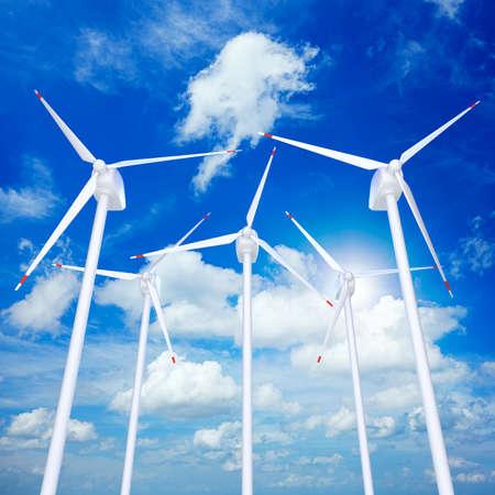 Wind turbines farm against blue cloudy sky 3D illustration Stockfoto