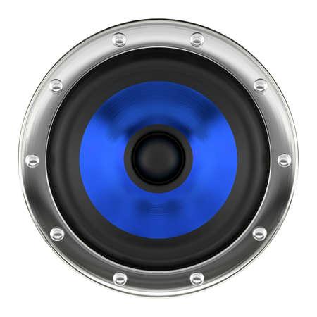 Stylish blue loudspeaker isolated on white 3D illustration
