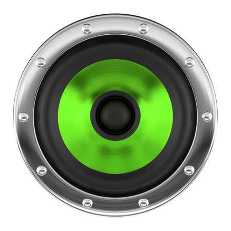 orador: Stylish green loudspeaker isolated on white 3D illustration