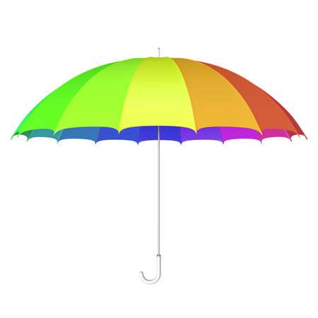 rainbow umbrella: 3D illustration of the multicolored umbrella against white