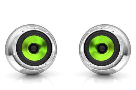 entertainment equipment: Green drivers futuristic wireless sound system 3D illustration