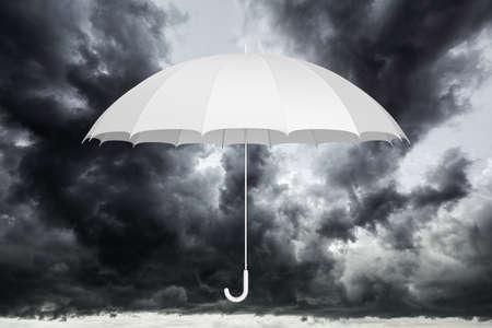 White umbrella against dark cloudy sky 3D illustration