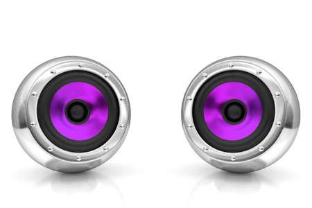 subwoofer: Purple drivers futuristic wireless sound system 3D illustration