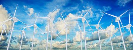 Wind farm against blue cloudy sky 3D illustration