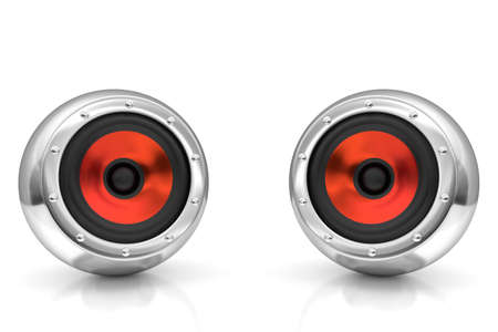 acoustics: Red drivers futuristic wireless sound system 3D illustration