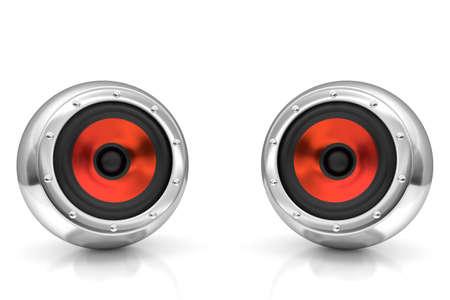 Red drivers futuristic wireless sound system 3D illustration