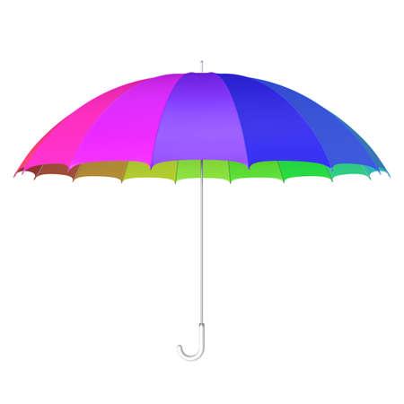 Multicolored umbrella against white 3D illustration