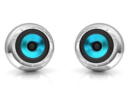 subwoofer: Light blue drivers futuristic wireless sound system 3D illustration
