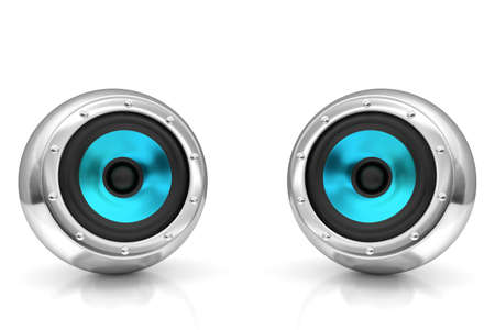 Light blue drivers futuristic wireless sound system 3D illustration