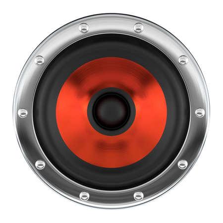 Stylish red loudspeaker isolated on white 3D illustration