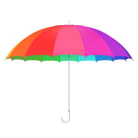 Colorful umbrella against white 3D illustration