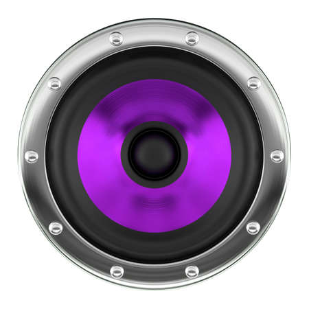 Stylish purple loudspeaker isolated on white 3D illustration