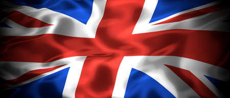 National flag of the United Kingdom of Great Britain and Northern Island panoramic 3D illustration
