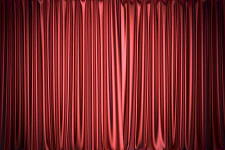 Red silky curtain backdrop 3D illustration