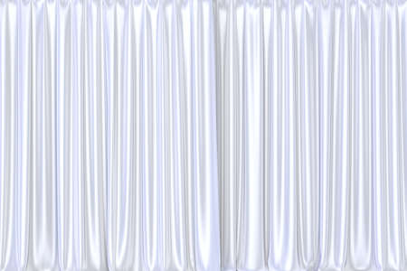 White stage curtain 3D realistic illustration